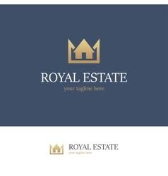 Royal estate logo on blue background vector image