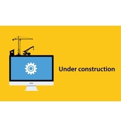 under construction concept with pc computer vector image