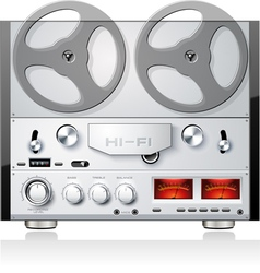 Vintage open reel analog stereo tape deck player vector image vector image