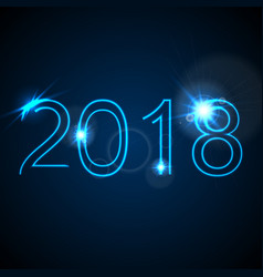 2018 glowing neon blue new year background vector image