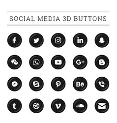 3d round social media button set vector image