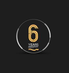 6 years golden anniversary logotype golden number vector
