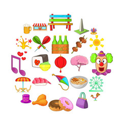 Act icons set cartoon style vector