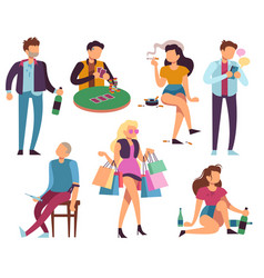 addicted people bad habits alcoholism drug vector image