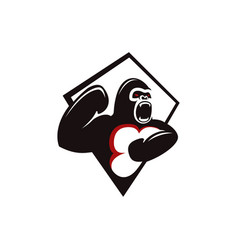 Angry screaming gorilla logo icon vector