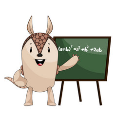 armadillo with blackboard on white background vector image