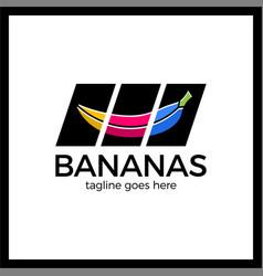 Banana slash media slider logotype vector