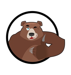 Bear thumbs up and winks all well Grizzlies Signs vector image