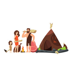 cartoon caveman family prehistoric neanderthal vector image