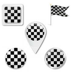 Checkered flags set flag runway pursuit vector