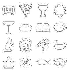 christmas thin line icon set vector image
