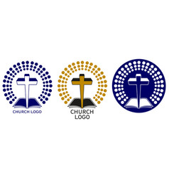 church logo symbol christianity cross and vector image