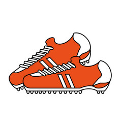 color silhouette with pair of soccer shoes vector image