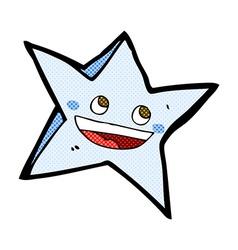 Comic cartoon happy star character vector