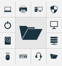 Computer icons set collection of database vector