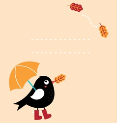 Cute autumn greeting Card with cartoon Bird vector image vector image