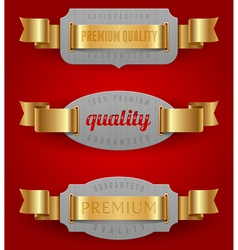 Decorative emblems of quality with golden ribbons vector image