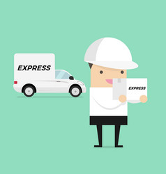 delivery man in white uniform carrying box vector image