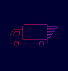 delivery sign line icon with vector image