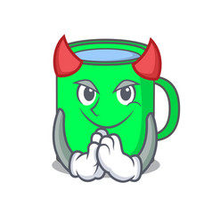 Devil mug mascot cartoon style vector