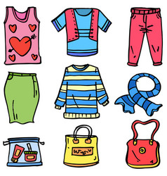 Doodle of clothes set and bag women vector