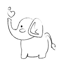 Elephant affectionate cartoon vector