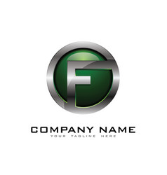 F 3d circle chrome letter logo icon design vector