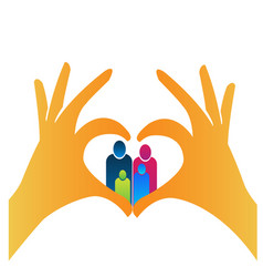 Family people with hands creating heart vector