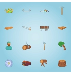 Felling of trees icons set cartoon style vector