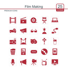 Film making icons set vector