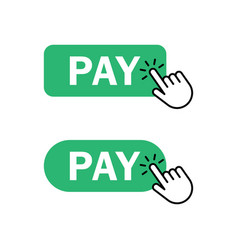 Finger push on pay button icon vector