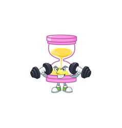 Fitness cartoon sandglass with character mascot vector