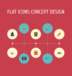 Flat icons fist aid ship hill and other vector