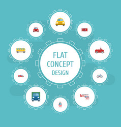 Flat icons streetcar transport bicycle and other vector