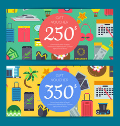 flat travel elements discount or gift card vector image
