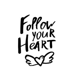 follow your heart - happy valentines day card vector image