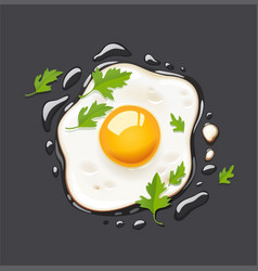 fried egg fast food vector image