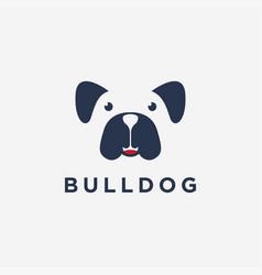 fun minimalist smiley bulldog logo icon vector image