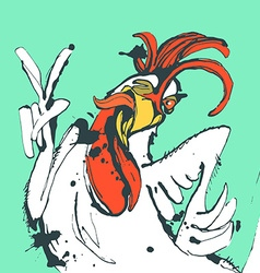 Funny hand drawn cock showing victory sign and vector image
