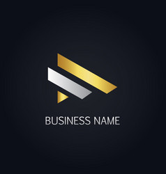 gold line business company logo vector image