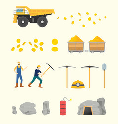 Gold mining set collection objects with people vector