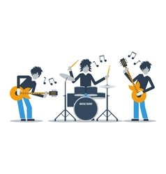 Guitarists and drums playing music three musicians vector