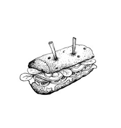 hand drawn of baguette sandwich on white backgroun vector image