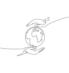 hand hold globe earth single continuous line vector image