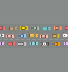 Highway traffic jam top view vector
