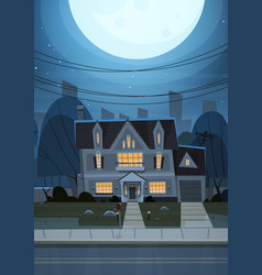 House building night view suburb of big city vector