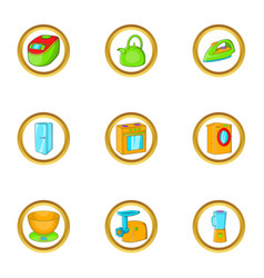 Household icon set cartoon style vector