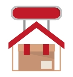 Isolated delivery package inside house design vector