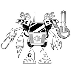 killer robot line art vector image