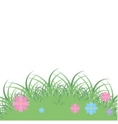 landscape grass with flowers vector image